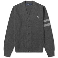 Fred Perry Authentic Engineered Stripe Cardigan Grey