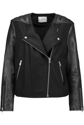 Iro Glass Leather Trimmed Wool Blend Biker Jacket Black