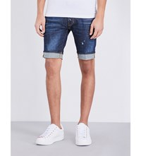 Dsquared2 Slim Distressed Denim Shorts Blue