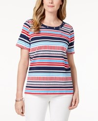 Alfred Dunner America's Cup Grommet Neck Printed T Shirt Multi