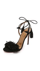 Aquazzura Wild Thing Fringe Sandals Black