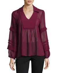 Moon River Long Sleeve V Neck Peasant Blouse Dark Red