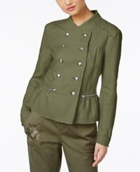 Inc International Concepts Linen Peplum Military Jacket Only At Macy's Olive Drab
