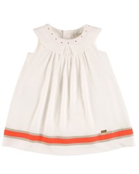 Pili Carrera Sleeveless Collared Linen Trim Shift Dress White