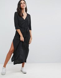 Goldie Breezy Square Dot Maxi Dress With Button Up Front And Waist Tie Black