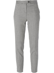 Boutique Moschino Houndstooth Tapered Trousers Black