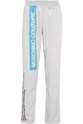 Moschino Printed Jersey Track Pants Gray