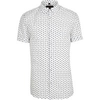 River Island White Paisley Short Sleeve Muscle Fit Shirt