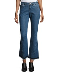 See By Chloe Mid Rise Flared Raw Hem Jeans Blue