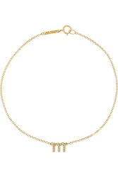 Jennifer Meyer Letter 18 Karat Gold Diamond Bracelet