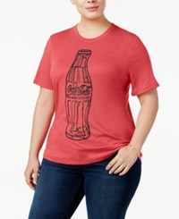 Mighty Fine Trendy Plus Size Coca Cola Graphic T Shirt Red