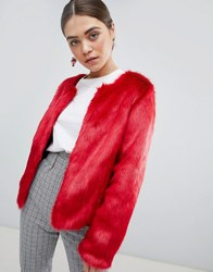 Unreal Fur Dream Faux Collarless Jacket In Red