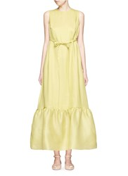 Valentino Silk Gazar Peplum Sleeveless Maxi Dress Green