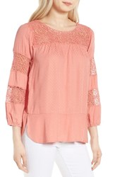 Wit And Wisdom Women's Lace Jacquard Peasant Blouse Off White
