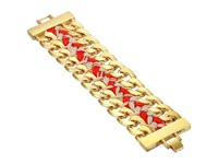 Vince Camuto Double Chain Woven Bracelet Gold Neon Coral Taupe Bracelet