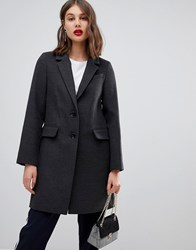 Warehouse Single Breasted Coat In Charcoal Navy