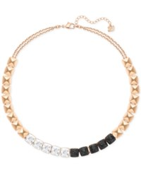 Swarovski Rose Gold Tone Clear And Black Crystal Collar Necklace
