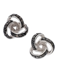 Victoria Townsend Sterling Silver Earrings Black Diamond Accent Love Knot Stud Earrings