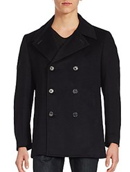 John Varvatos Cashmere Double Breasted Coat Navy
