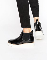 Monki Patent Colour Block Flatform Boot Black