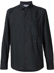 Stone Island Embroidered Detail Button Down Shirt Black