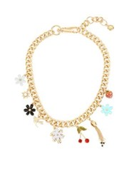Bcbgeneration Faux Pearl And Crystal Charm Collar Necklace Gold