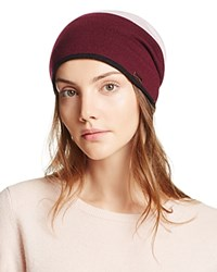 Kate Spade New York Color Block Striped Reversible Beanie Midnight Wine