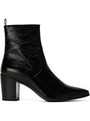 Saint Laurent Chunky Heel Ankle Boots Black