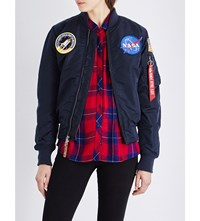 Alpha Nasa Ma 1 Shell Bomber Jacket Rep Blue
