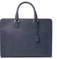 Valextra Pebble Grain Leather Briefcase Navy