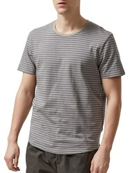 Selected Homme Jannick Striped T Shirt Elephant Grey