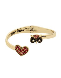 Betsey Johnson Paved Crystal Heart And Owl Hinged Bangle Bracelet Gold