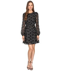 Just Cavalli Long Sleeve Sheer W Lining Embroidered Dress Black