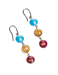 Antica Murrina Veneziana Redentore 1 Multicolor Murano Glass And Silver Leaf Dangling Earrings