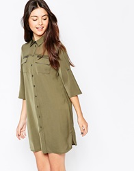 Only 3 4 Sleeve Utility Shirt Dress Grapeleaf