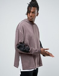 Asos Oversized Hoodie With Woven Sleeve Panels And Side Splits Violet Grey Purple