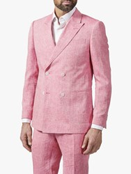 Richard James Mayfair Double Breasted Linen Suit Jacket Coral