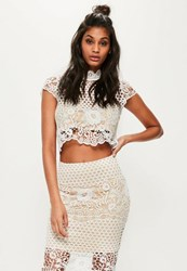 Missguided White High Neck Lace Short Sleeve Crop Top