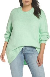 Leith Plus Size High Low Sweater Green Ash