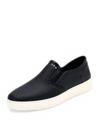 Salvatore Ferragamo Fly Perforated Rubber Slip On Sneaker Deep Blue