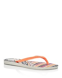 Havaianas Women's Slim Tribal Flip Flops White Orange