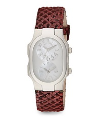 Philip Stein Teslar Signature Mother Of Pearl Stainless Steel And Snake Embossed Leather Dual Time Zone Watch Dark Pink