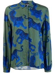 Just Cavalli Tiger Print Shirt Green