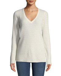 Neiman Marcus Baby Cable V Neck Cashmere Sweater Winter White
