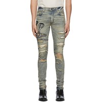 Amiri Blue Art Patch Snake Jeans