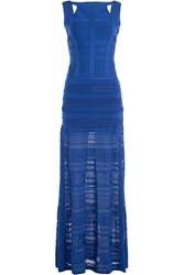 Herve Leger Herve Leger Floor Length Bandage Dress Blue