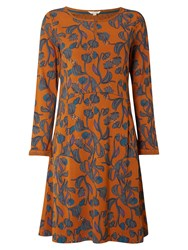 White Stuff Festive Feast Jersey Dress Orange
