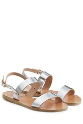 Ancient Greek Sandals Metallic Leather Flat Sandals Silver