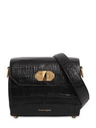 Alexander Mcqueen 21.5 Box Bag Croc Embossed Leather Bag Black