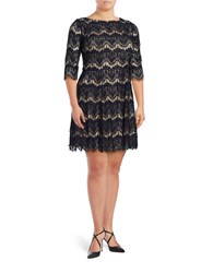 Eliza J Plus Elbow Sleeved Lace Dress Navy Tan